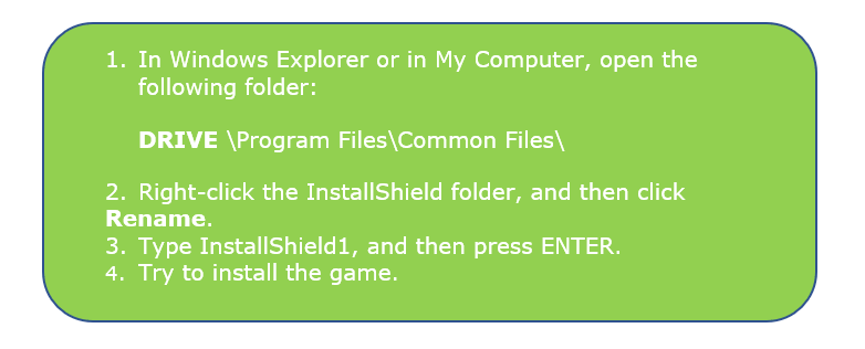 Rename the InstallShield folder