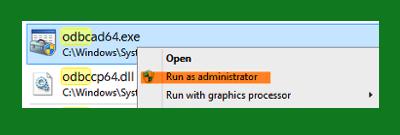 run as administrator odbcad64