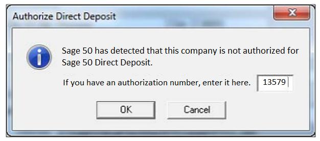 authorize sage 50 direct deposit