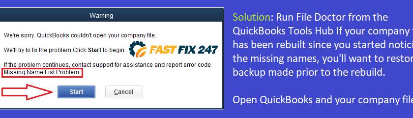 Missing Name List Problem in QuickBooks
