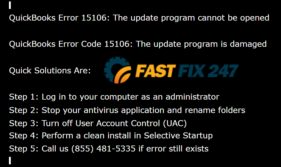 quickbooks error code 15106