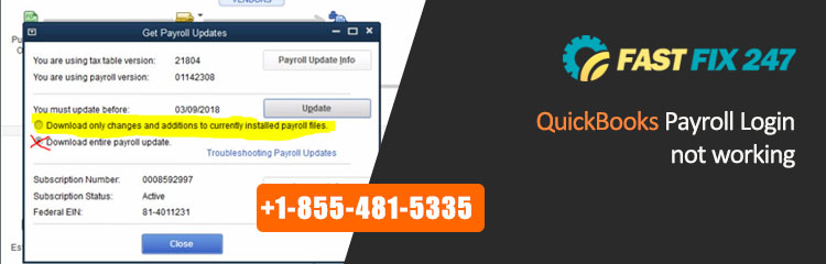 QuickBooks Payroll Login Not Working - Get Help at 1 855 481 5335