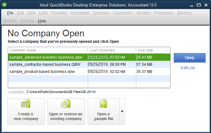 quickbooks no company open