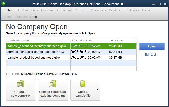 quickbooks no company open