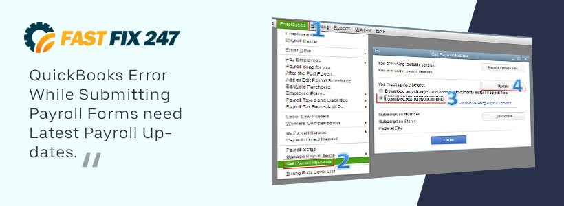QuickBooks Error While Submitting Payroll Forms need Latest Payroll Updates