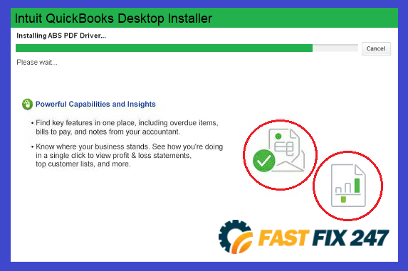 hangs on installing abs pdf driver while installing quickbooks