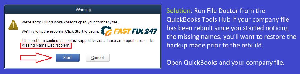 quickbooks missing name list problem