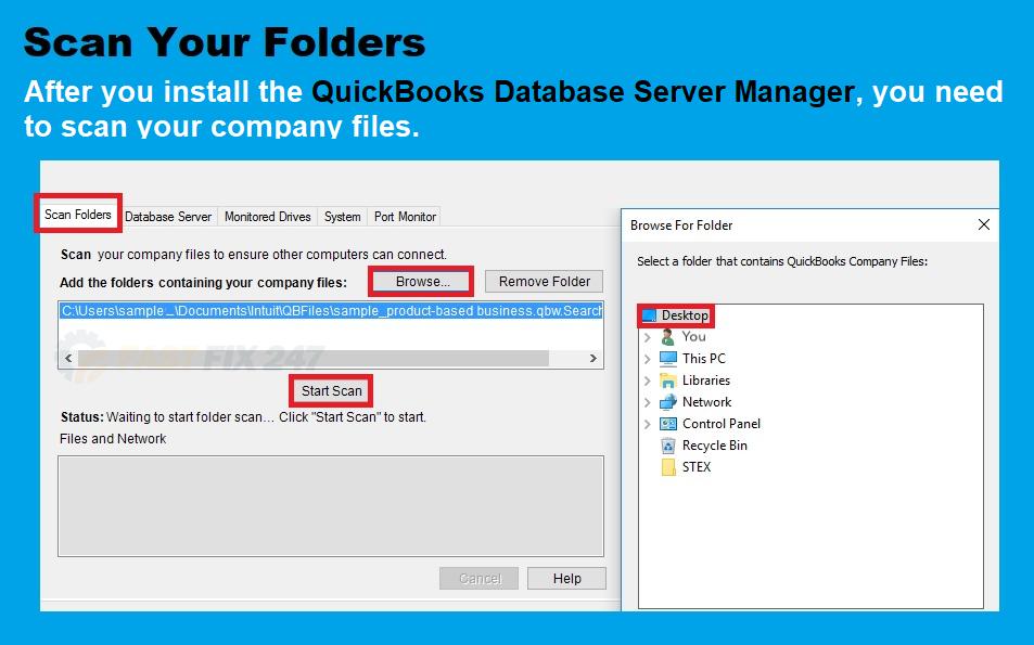 scan folder quickbooks database server manager