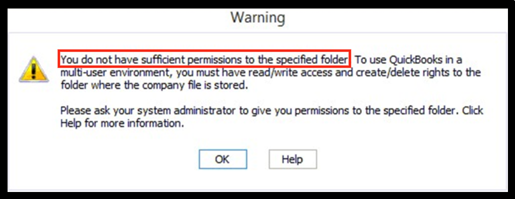 quickbooks you do not have sufficient permissions to the specified folder