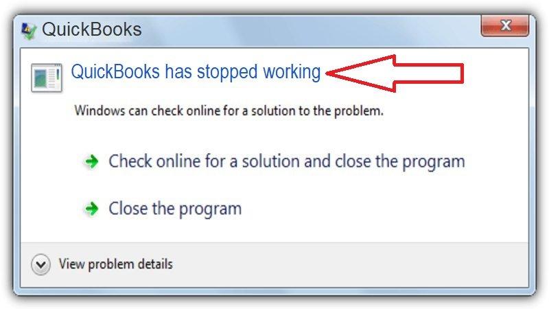 quickbooks program has stopped working error