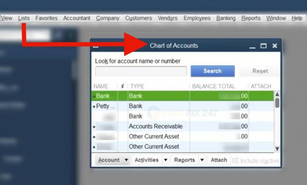 export chart of accounts-quickbooks
