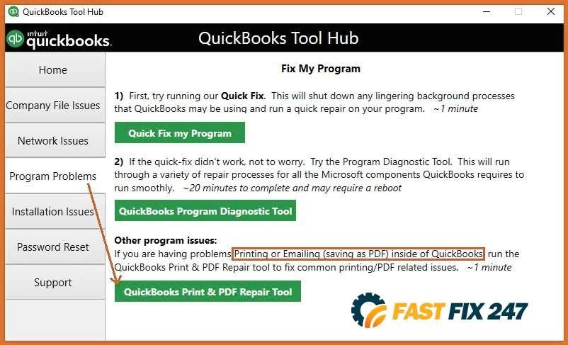 screenshot QuickBooks tool hub