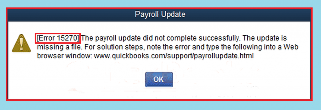 quickbooks payroll error 15270 update did not complete successfully