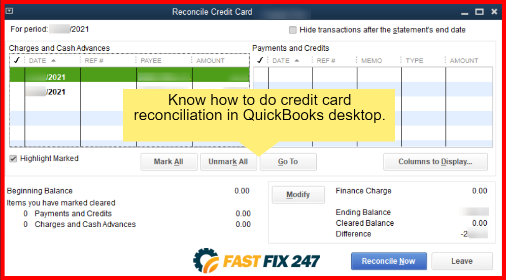 reconcile credit card payments in quickbooks